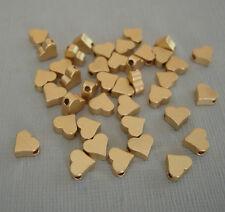 6pcs- Matte Gold Flat Heart Beads,  Brass Beads, Beading Jewelry Making.