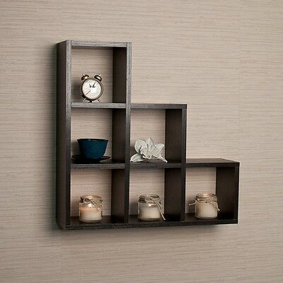 Stepped Six Cubby Decorative Black Wall Shelf  FF4813B