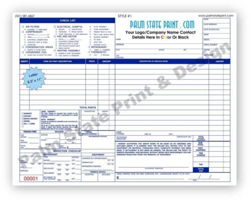 250 2 Part HVAC Service Order Invoice Work Custom Forms Carbonless Book Sets