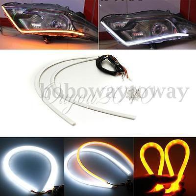 2x 60cm Switchback LED Lampe Strip Streifen DRL Tagfahrlicht Leuchte Weiß/Gelb