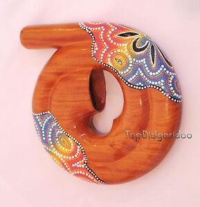 Spiral DIDGERIDOO Bag Travel Compact snail shell Mahogany Wood Hand Carved Art