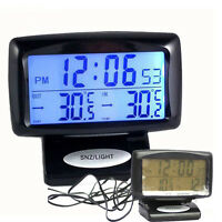 Car Auto Blue Led Backlight Digital Dual 2 Thermometer ℃ ℉ Voltmeter Alarm Clock