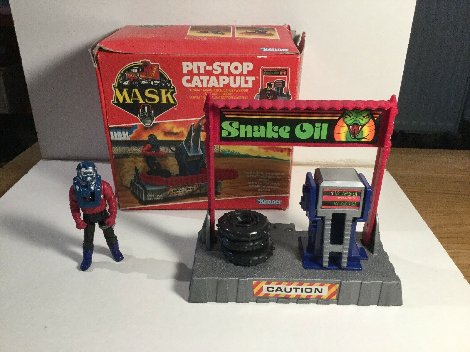 MASK Pit Stop Catapult With All Tyres And Sly Rax Figure In Its Original Box
