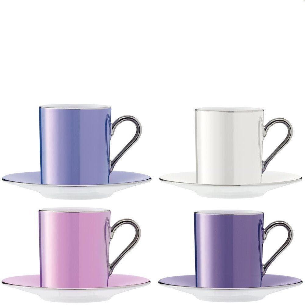 LSA Gepunktet Gepunktet Gepunktet Kaffeetasse & Untertasse 0,1 L - Pastell-Assorted - 4er Set   Sonderpreis  b0afb2
