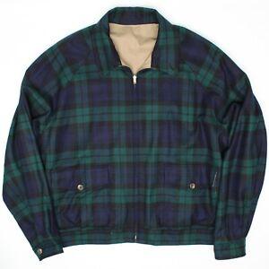 Polo-Ralph-Lauren-Mens-Reversible-Harrington-Jacket-XL-Blackwatch-Plaid-Wool-Tan