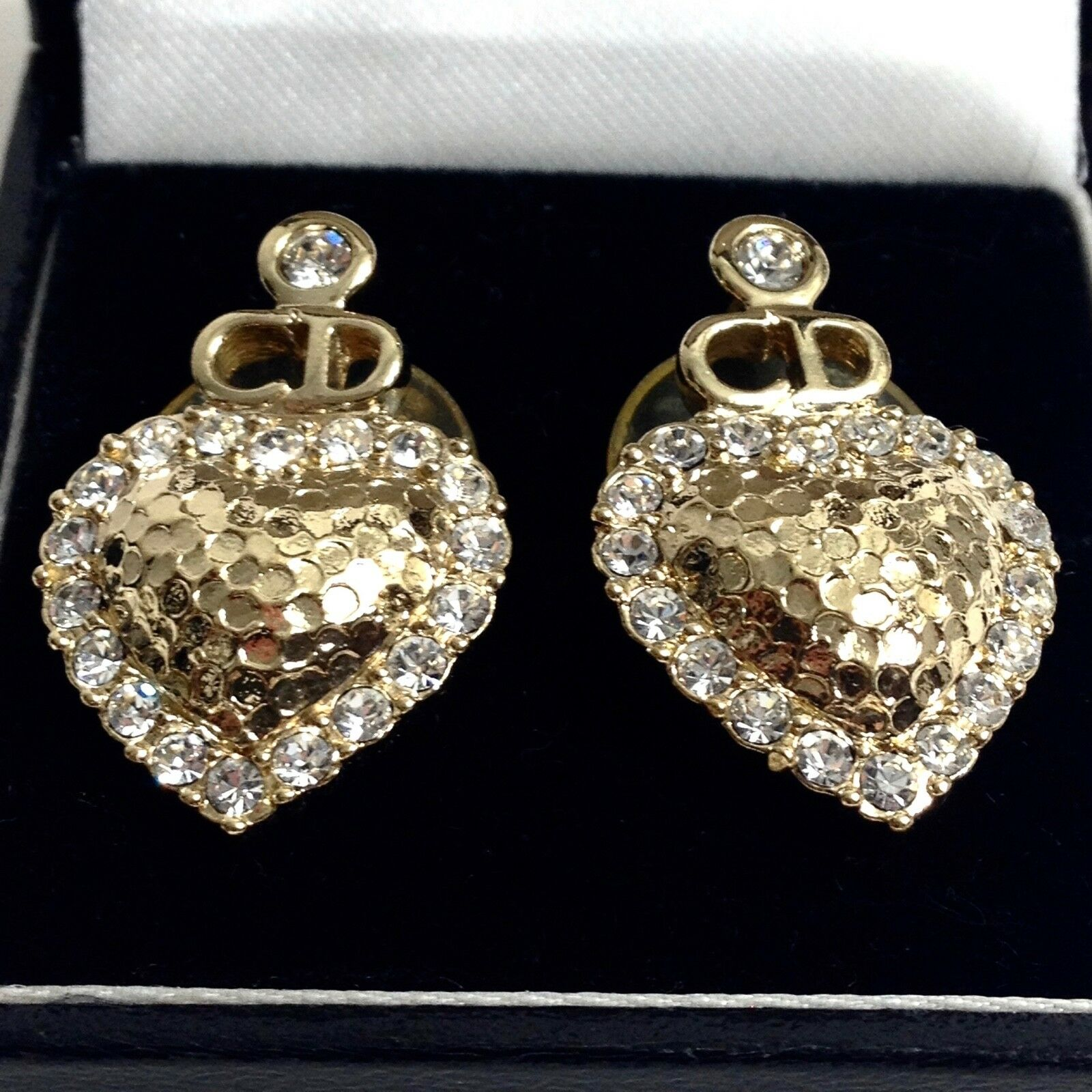 Christian Dior gold and swarovsky crystal heart earrings