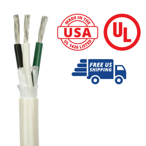 Black//White//Green Made in the USA 14//3 AWG Triplex Round AC Marine Wire 50 ft