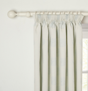 John Lewis Water Lily Lined Pencil Pleat Curtains Duck Egg W260cm D137cm