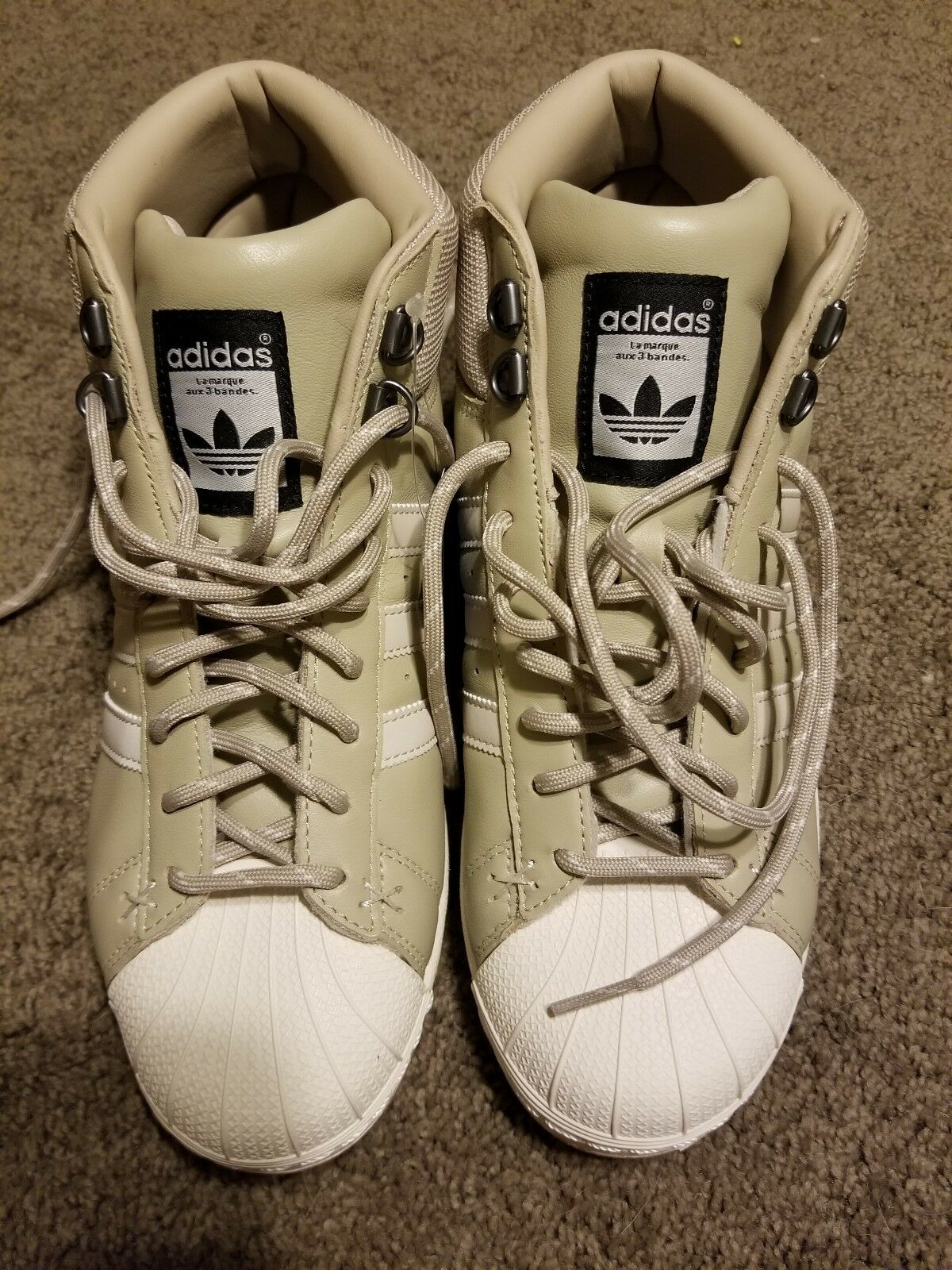 Adidas Pro model Hi Top original superstar Cream performance sneaker shoe new