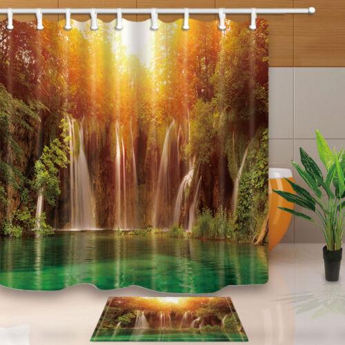 "Autumn waterfall scenery Bathroom Fabric Shower Curtain with hooks 180x180cm-71/"""