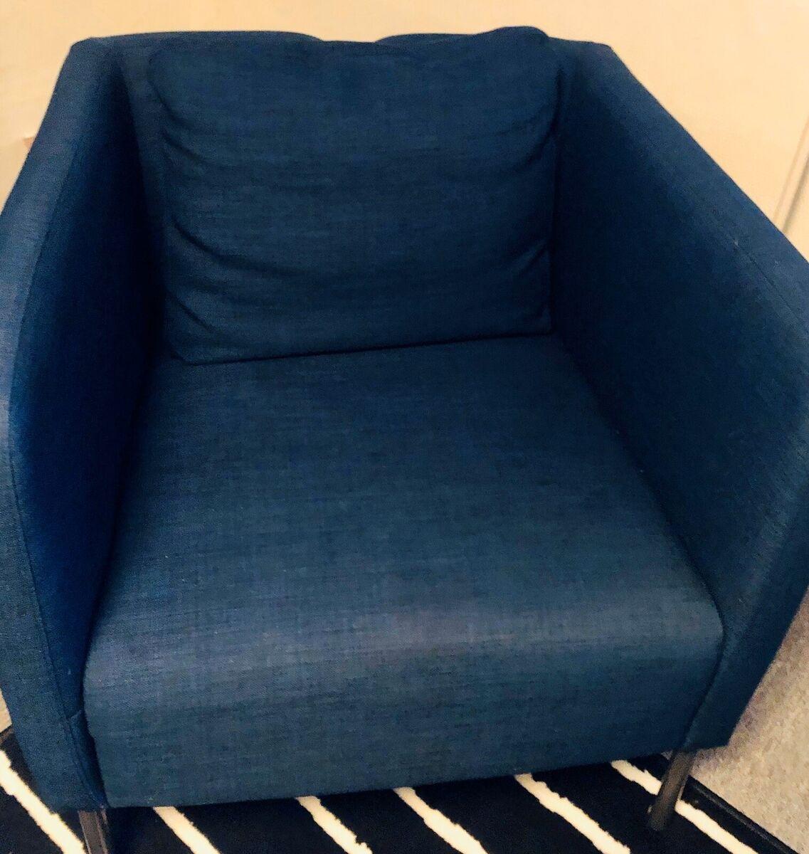 Lænestol, stof, Sofakompagniet, Mørkeblå lænestol fra sof