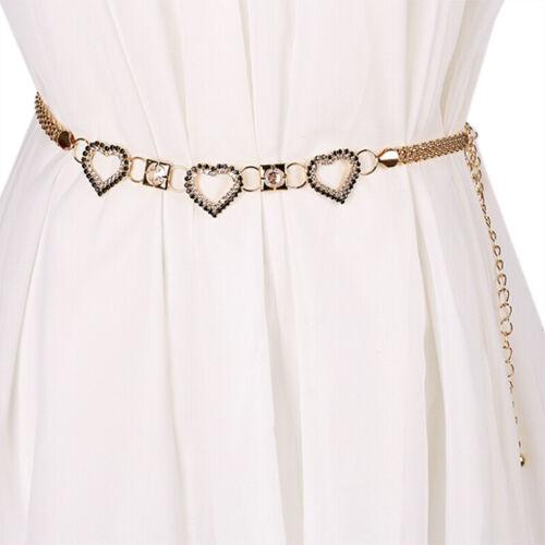 Women Waist Belt Gold Metal Chain Charm Adjustable Party Wear Fashion  BL