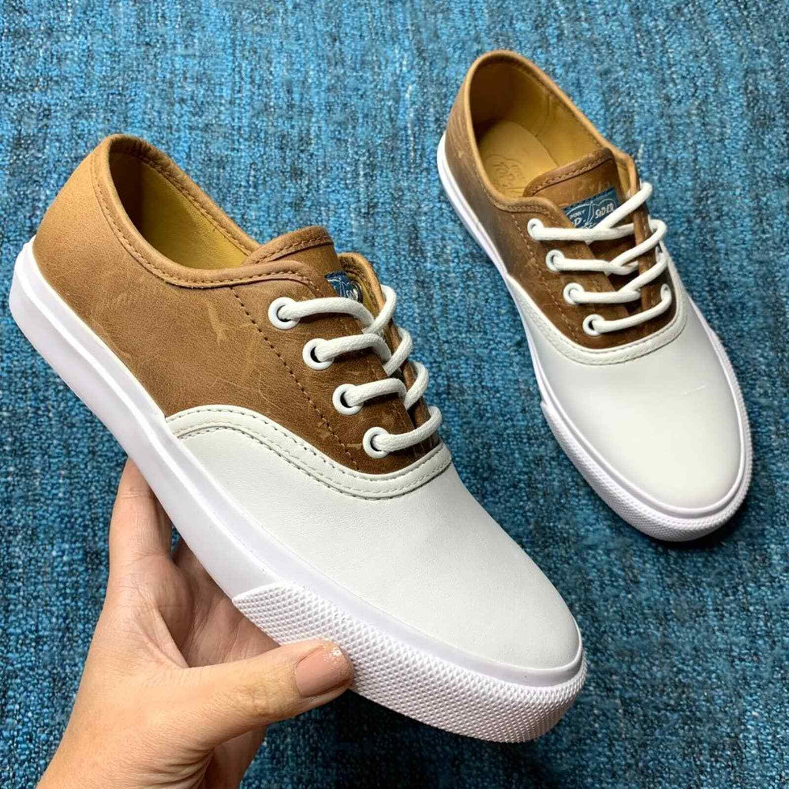 Sperry Top Sider Cloud CVO Leather Sneakers White Brown Size 5 Men or 6.5 Womens
