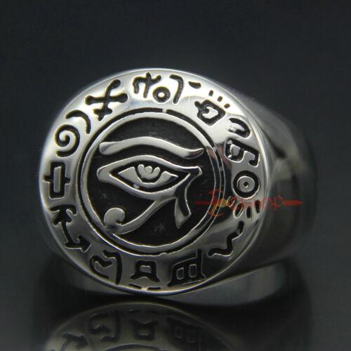 Mens Egyptian Eye of Horus Stainless Steel Talisman Ring Ra Udjat Vintage Silver