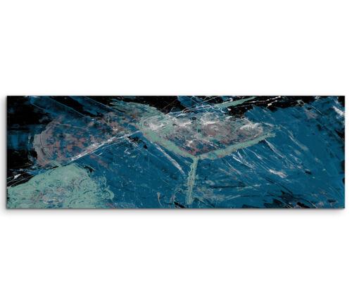 Leinwandbild Panorama blau grün schwarz weiß Paul Sinus Abstrakt/_688/_150x50cm
