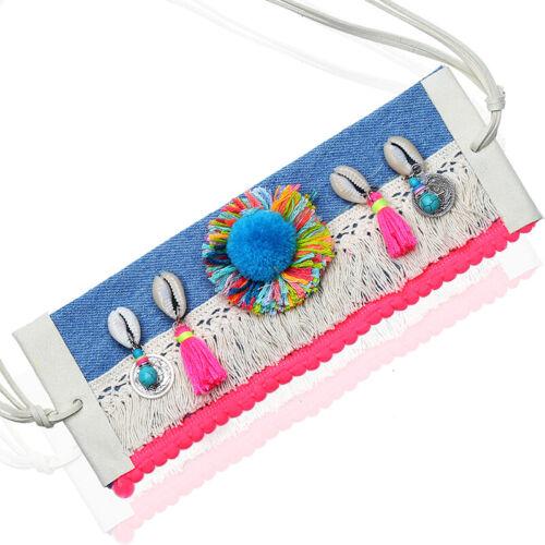 Hippie Boho Halskette Oberarm Armband Choker Neon Muscheln Quasten Ibiza Style