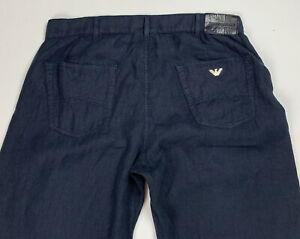 Emporio Armani Para Hombre Pantalones De Lino Azul Marino W32 Excelente Cond Luz Giorgio Ebay