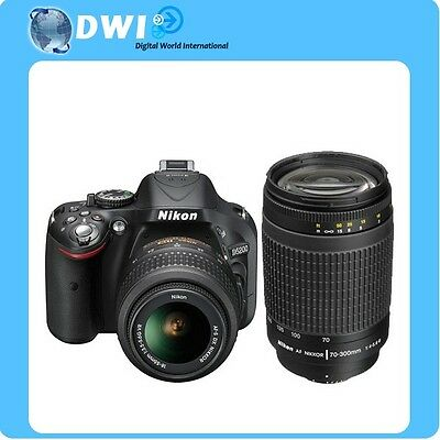 BRAND NEW NIKON D5200 DIGITAL SLR CAMERA + AF-P 18-55MM VR + AF 70-300MM G BLACK