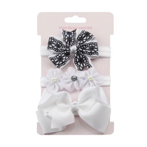 3PCs Newborn Baby Flower Hairband Accessories Elastic Cotton Girl Headwear 6M-8Y