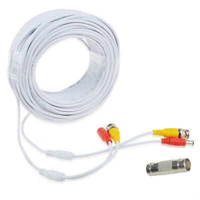 65ft BNC Video Power Wire Cord for Swann Night Owl CCTV Cameras Cable White