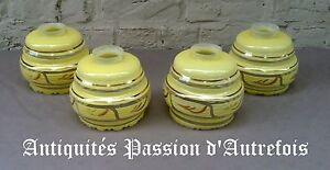 B2017331 - 4 Bobèches , Globes De Lustre En Verre 1930-40 - Très Bon état