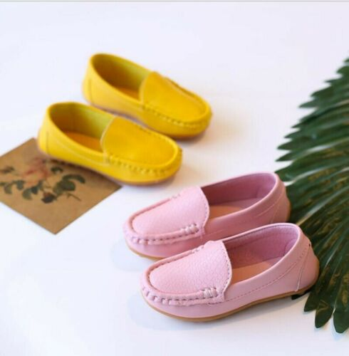 Kid Boys Girls Soft Loafers Oxford Flats Casual PU Boat Shoes Toddler Slip Zsell