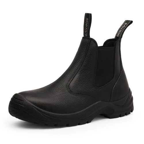 Men/'s Slip On Work Boots Lightweight Leather Waterproof Industrial Construction