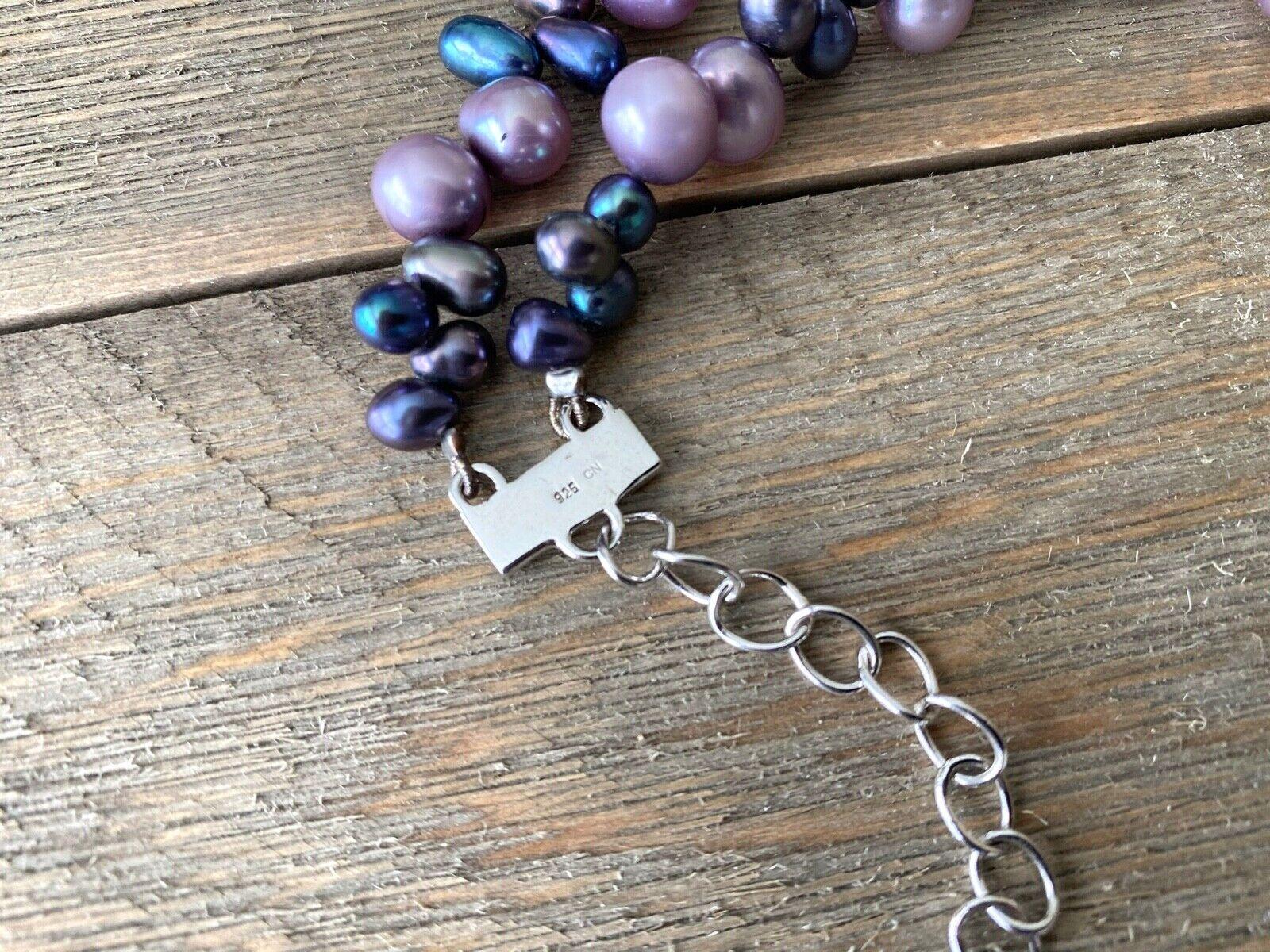 Necklace Amethyst Pearls Cluster Diana Venezia Ra… - image 9