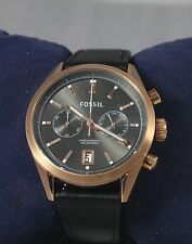Fossil CH2991 Men's Del Rey Rose-Gold Plated Case Black Leather Strap Watch NEW