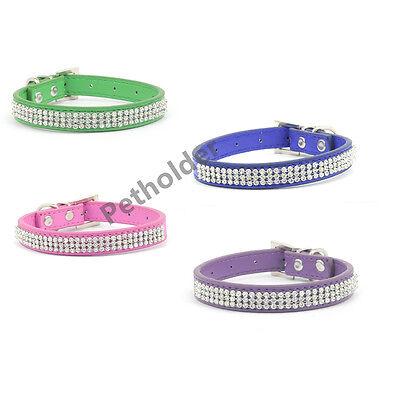 Bling Rhinestone Dog Pet Cat Puppy Pu Leather Collar Crystal Diamonds size S M L
