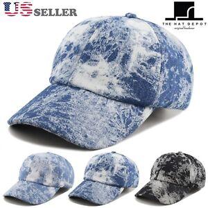191e14cf947 Unisex 100% Cotton Tie Dye Low Profile Denim Baseball Dad Cap