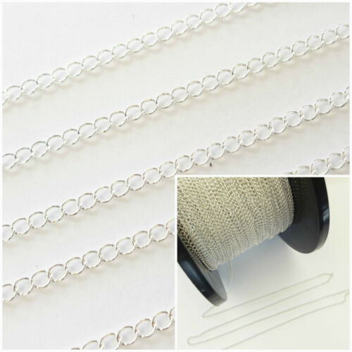 1 Ft Sterling Silver 3x2.5mm Continuous Curb Chain For Jewellery Making