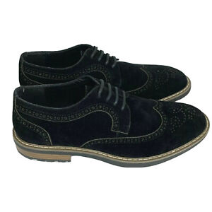 gm golaiman mens sz 8 black suede leather oxford wingtip