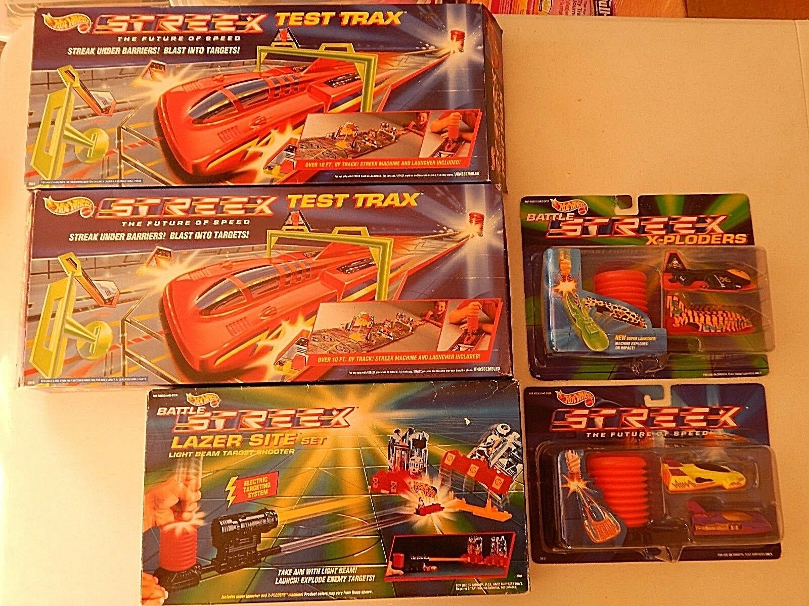 Hot Wheels Battle Streex Lazer sitio Set y prueba Trax Lote 1991 y 1992