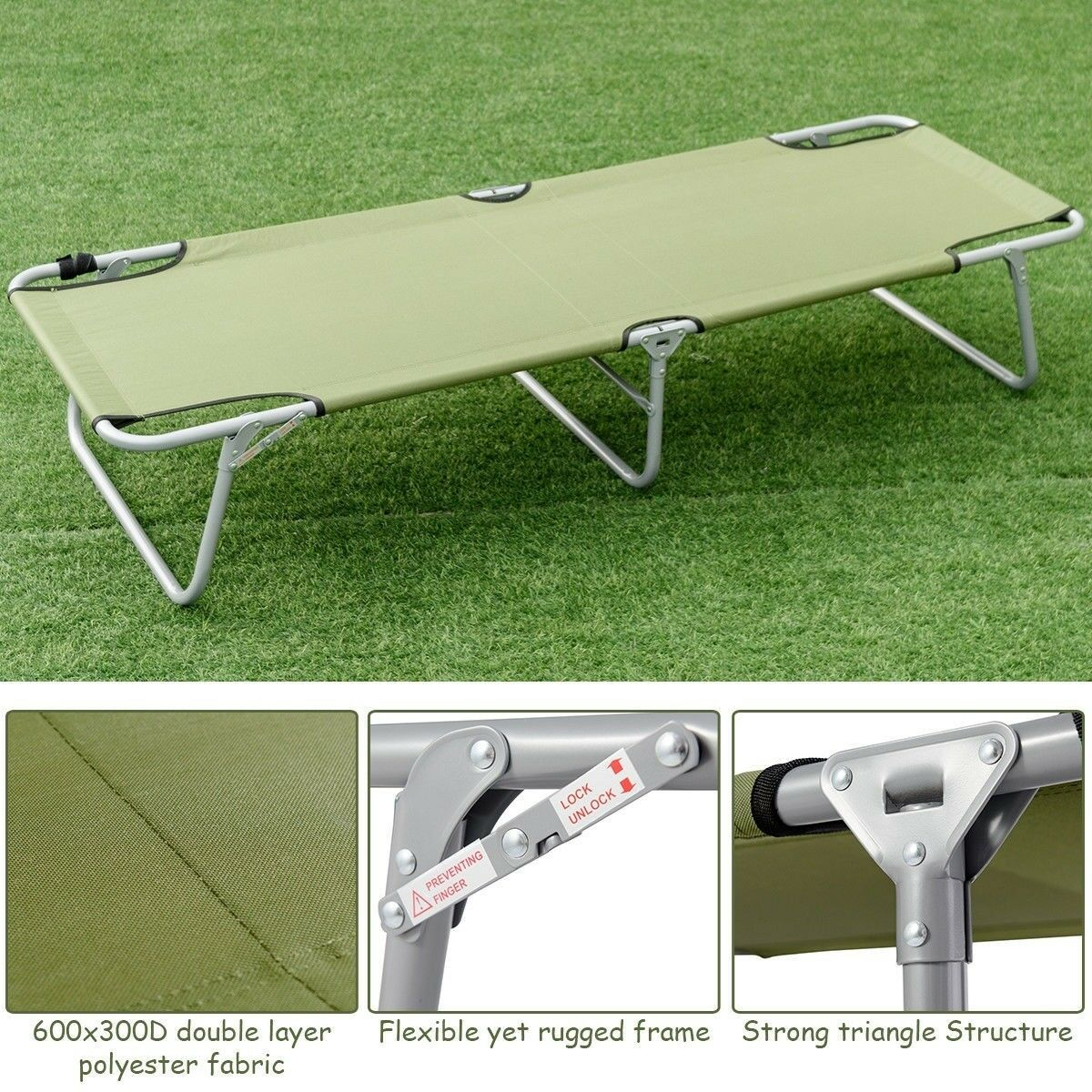 Outdoor Travel Camping Portable Bed  Army Military Foldable Tent Cot Bed 250 lbs  guaranteed