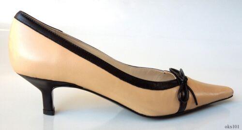 "new CLAUDIA CIUTI /""Marilu/"" beige//black leather heels pumps shoes classic style"