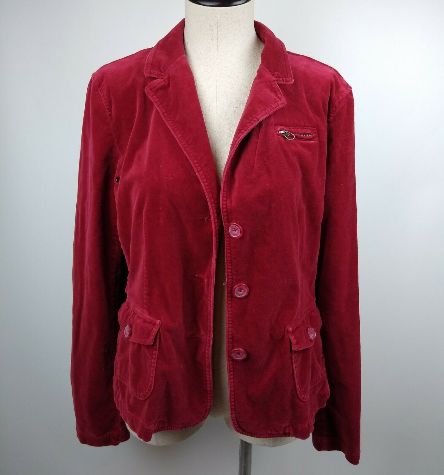 AEO American Eagle Outfitters Red Velvet Cropped … - image 1