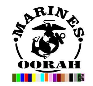 """MARINES OORAH USMC die cut decal sticker CHOOSE COLOR 4/""""-22/"""" free ship"""