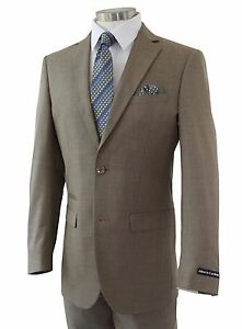 Men's Taupe Brown Sharkskin 2 Button Slim Fit Suit w/ Ticket Pocket NEW
