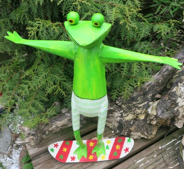 Dekofigur XL Frosch Surfer Wellenreiter grün Skulptur Frog Metall Metallfigur