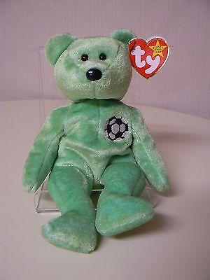 Ty Beanie Baby Kicks Plush Green Bear With Soccer Ball On