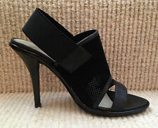 M&S AUTOGRAPH Black Suede Leather Elastic Slingback Peeptoe Stiletto Shoes 4 BN