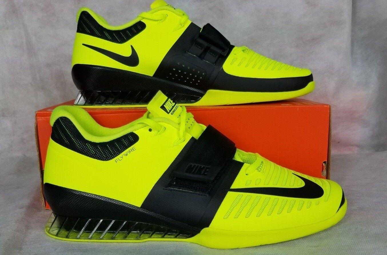 New Nike Romaleos 3 Weightlifting Men Size 14 Leather Volt Black Shoe 852933 700