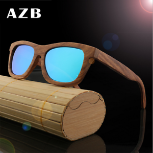 fdb2f1e3656 Image is loading Handmade-Unisex-Zebra-Wood-Polarized-Sunglasses-Wooden- Frame-