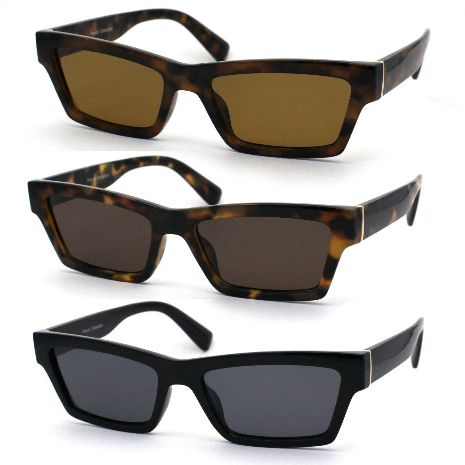 Womens Mod Squared Retro Rectangular Dad Shade Sunglasses