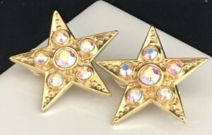 Kirks-Folly-Earrings-Gold-Star-Aurora-Borealis-Crystal-Clip-RARE-2O
