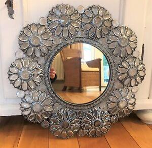Large Antique Silver Daisy Round Mirror 58cm S8 Ebay
