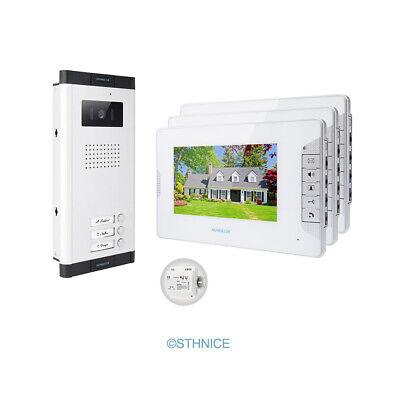 homsecur video sichere t rklingel gegensprechanlage mit ir kamera f r 3 wohnung ebay