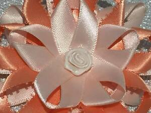 Preemie prem reborn tiny baby peach rosette ribbon bow headband w/ rose