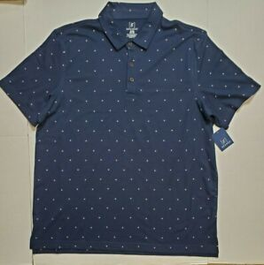 George-Mens-Navy-Jersey-Polo-Block-Design-S-S-Work-Golf-Button-Shirt-XL-NWT-FAST